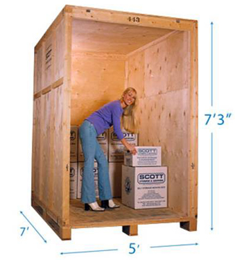 picture of a lady standing inside a graydeliver storage container